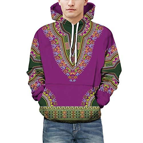 CICIYONER Tops für Männer, Liebhaber Herbst Winter afrikanisch 3D Drucken Lange Ärmel Dashiki Hoodies Sweatshirt Oben