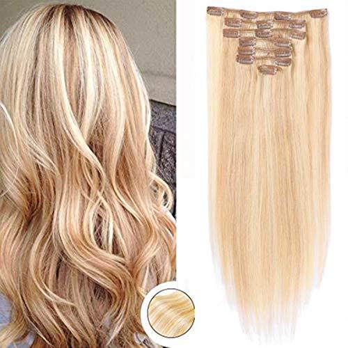 Clip in Extensions Echthaar Remy Haarverlängerung 7A Brasilianisches Haar 120g 100% Menschenhaar # 27/613 Erdbeere Blonde/Bleach Blonde 16Zoll/40cm