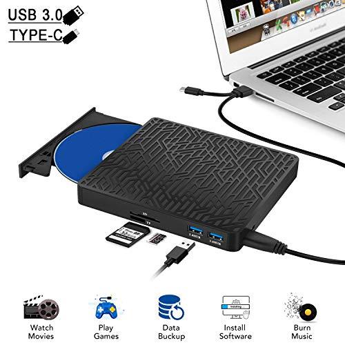 Yomao CD Laufwerk Extern USB, Externes DVD Laufwerk USB 3.0 Typ C und Typ A DVD/CD RW Brenner mit TF SD Reader Slot Externes Laufwerk für Laptop Desktop PC Mac OS, MacBook, Windows 10/8/7/XP/Vista