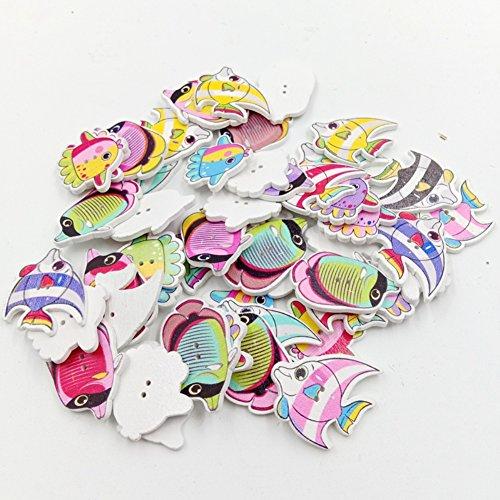 Saniswink Schöne und zarte 100 Stück Tropische Fische 2 Löcher Holz Knöpfe DIY Nähen Scrapbook Basteln Dekoration, holz, Zufällige Farbauswahl, Einheitsgröße (Silber-dollar-fisch)