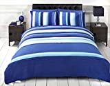 Signature Striped Adults Teenagers Quilt Duvet Cover and Pillowcase Bedding Bed Set, Blue, Single