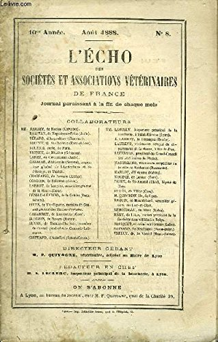 L'ECHO DES SOCIETES ET ASSOCIATIONS VETERINAIRES Août 1888 par COLLECTIF
