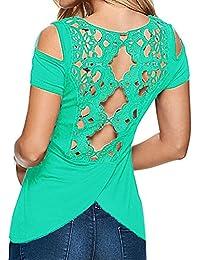 Yying Mujer Blusas de Encaje Top de Verano Backless Mujeres Camisa Manga Corta Camiseta Bordada Floral