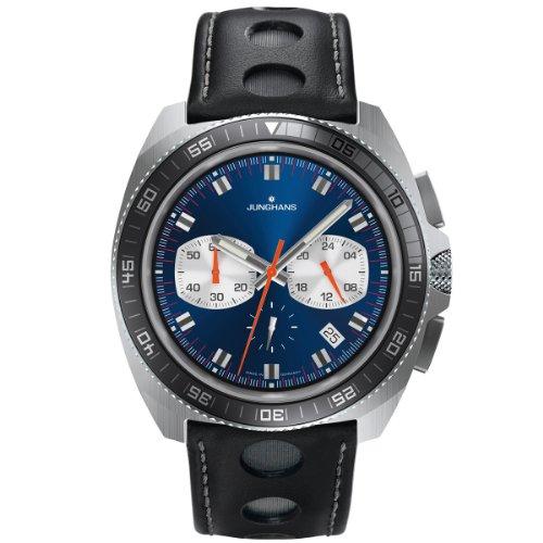 Junghans - 041/4261.00 - Montre Homme - Quartz Chronographe - Aiguilles lumineuses/Chronomètre - Bracelet Cuir Noir