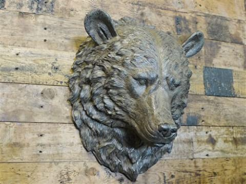 Aged Resin Wild Bears Head Animal Bust Wall Art Mounted