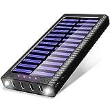 TSSIBE Batterie Externe 24000 mAh Power Bank 5.8A 4 Ports Solaire Chargeur Portable avec 3 Entrées (USB C et Micro) et LED Lumineuse pour Smart Cell Phones and Tablet