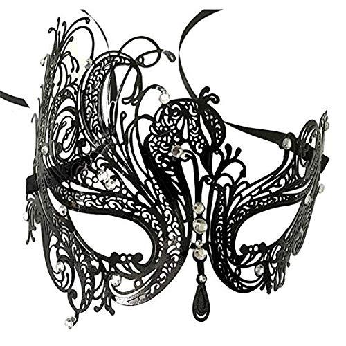 Schild Schleier schutzschirm Domino falsche Front Metall Strass halbe Gesichtsmaske weibliche Halloween kostüm Ball Party schwarz Phoenix,Black ()