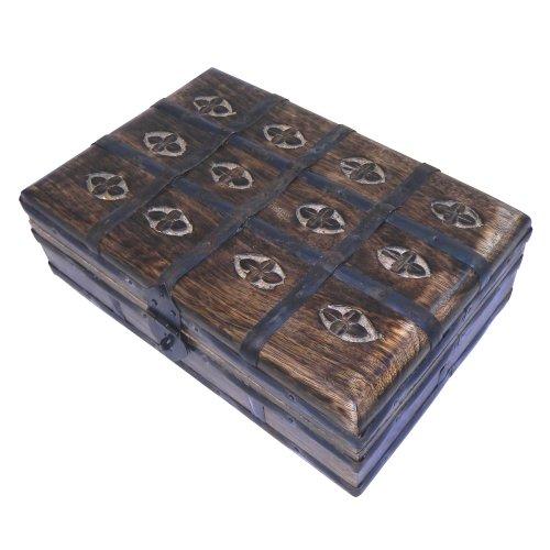 Schmuckschatulle Schatztruhenlook Massivholz ca. 23x15x8cm Holzbox