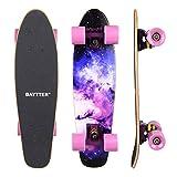 BAYTTER® 22 Zoll Skateboard Komplett Board Mini-Cruiser aus 7-lagigem Ahornholz 57 x 15cm für Kinder, Jugendliche und Erwachsene mit ABEC-11 Kugellager und 95A Rollenhärte, 5 Farben wählbar (violett)