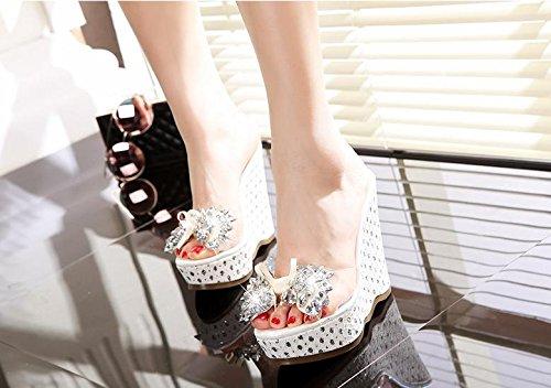 BaiLing Damen-Sommer-Pantoffeln / Wedge-Ferse wasserdicht / dicken Boden / Bowknot Strasssteine ??kleine Größe weibliche Sandalen Schuhe Weiß
