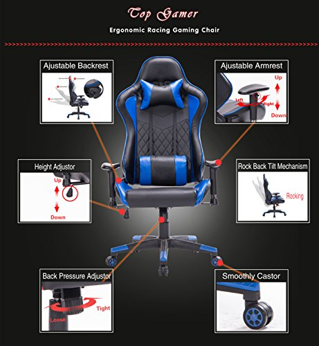 Top Gamer PC Gaming Chair Video Game Chairs for Computer Game (Blue)