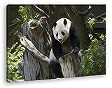 knuffiger Panda Effekt: Zeichnung Format: 120x80 als Leinwandbild, Motiv fertig gerahmt auf Echtholzrahmen, Hochwertiger Digitaldruck mit Rahmen, Kein Poster oder Plakat