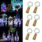 6 Stück LED Flaschenlicht Bunt, BizoeRade 20 LED 1M Batteriebetriebene Weinflasche Lichter mit Kork Schnurlicht für DIY Deko Weihnachten Party Urlaub Stimmungslichter Hochzeit