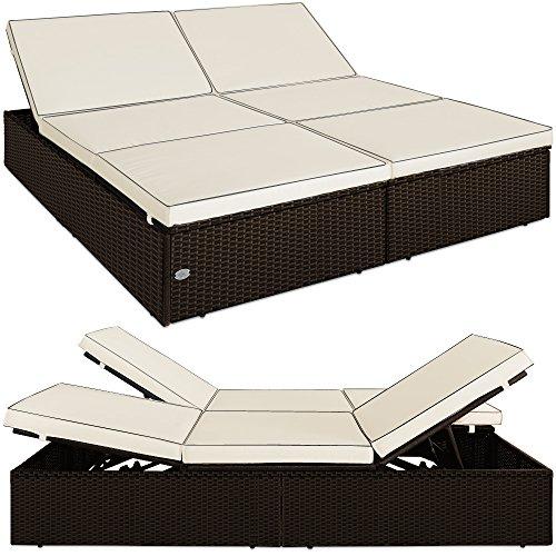Chaise longue double canapé-lit 2 en 1 Bain de soleil Polyrotin - 2 personnes - Dossiers et pieds réglables - Jardin Intérieur extérieur