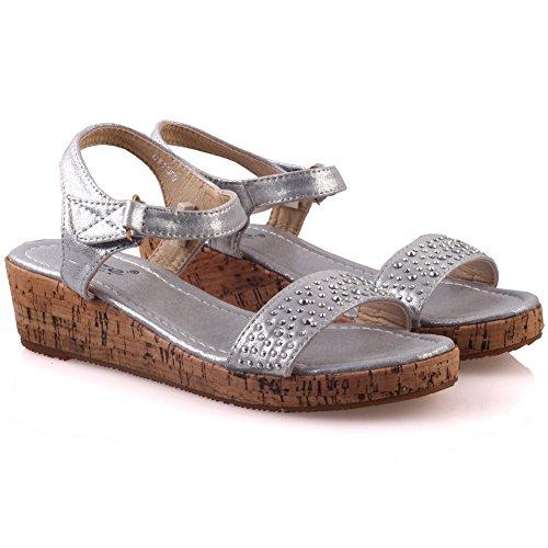 Unze Girls ' Leone ' Flat Shimmery Sommer Sandalen - 07088-2 Silber