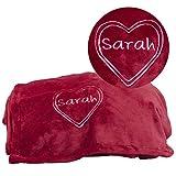 Rote Kuscheldecke mit Herzmotiv - Bestickte Decke mit Wunschname - persönliche Wohndecke für Frauen und Männer
