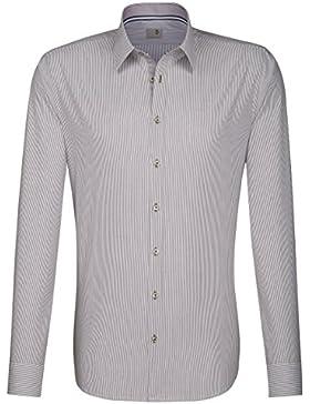 Seidensticker Herren Langarm Hemd Schwarze Rose Slim Fit Modern Kent braun / weiß gestreift mit Patch 243116.23