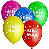 50x Rundballons 'Alles Gute' bunt Ø30cm + Geschenkkarte + PORTOFREI mgl. + Helium & Ballongas geeignet. High Quality Premium Ballons vom Luftballonprofi & deutschen Heliumballon Experten. Luftballon Deko zur Geburtstagsfeier und tolles Luftballongeschenk zum Geburtstag.