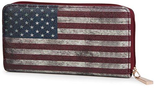 styleBREAKER USA Designer Geldbörse im Stars & Stripes Vintage Design mit Reißverschluss, Damen 02040020, Modell-3