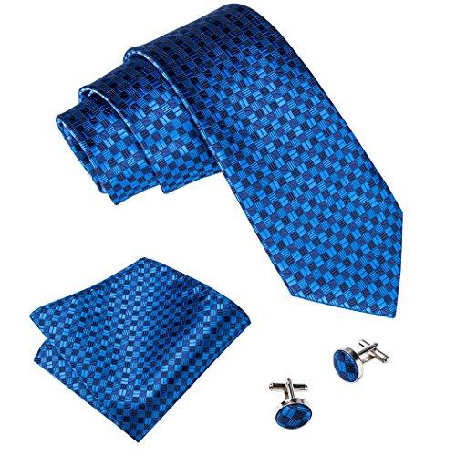 Barry. Wang, Krawatten-Set mit Einstecktuch und Manschettenknöpfen Gr. Einheitsgröße, blau