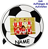 alles-meine.de GmbH Fotorahmen / Bilderrahmen -  Fussball / Ball  - incl. Name - bis 10 x 15 cm - zum Aufhängen & Hinstellen & Aufstellen - aus Holz - Wandbilderrahmen & Tischa..