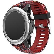 JiaMeng paraGarmin Fenix 3 GPS Watch,Banda de Reloj de Silicona Suave reemplazo Correa de
