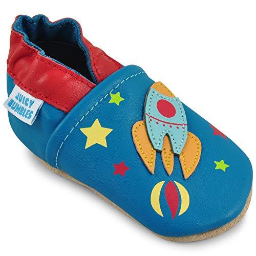 Scarpe bambino - scarpe neonato in morbida pelle - scarpine neonato primi passi - astronave - 6-12 mesi