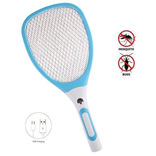 Raqueta Mosquitos Recargable, Matamoscas eléctrico mosca raqueta mosquitos moscas USB con luces, Multi-función Recargable LED electrica Mosca Swatter Mosquitos insectos Raqueta (Azul)