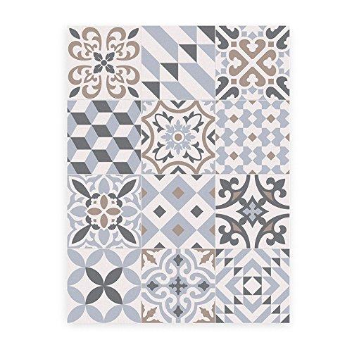 ALFOMBRA DE VINILO PARA COCINA O MASCOTAS, clásico suelo hidráulico modernista. Se limpia fácilmente con una fregona. Made in Barcelona. Eclectic Grey 60x80cm.