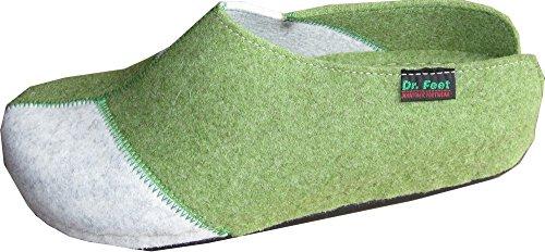 Hausschuhe Damen von Dr. Feet in Grün/Grau Grün-Grau