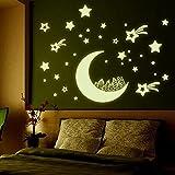 WINOMO Resplandor pegatinas fluorescentes en el Dark Star Luna luminosa etiqueta pegatinas