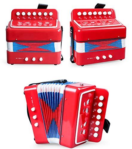 SFQNPA Rot Spielzeug Akkordeon Instrument Mini Kleine 7Key 2 Bass Akkordeon Pädagogisches Musikinstrument Spielzeug für Kinder Kinder Amateur Anfänger