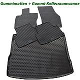 Ame Set - Auto-Gummimatten Fußmatten und Kofferraum-wanne in Schwarz für Den Laderaum