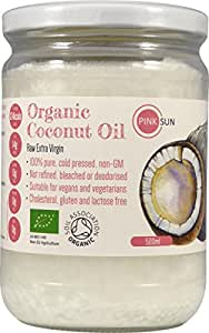 PINK SUN Organic Virgin Coconut Oil 500 ml (460g) in Glass Jars - Extra Virgin Cold Pressed Pure Unrefined - Certified Organic by the Soil Association