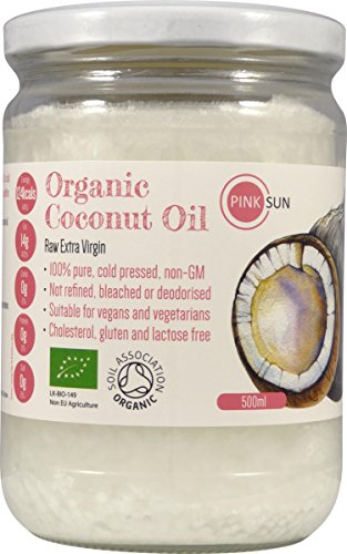 PINK SUN Raw Organic Extra Virgin 100% Pure Coconut Oil 500ml Glass Jar - Cold Pressed Unrefined (also available in 1 2 3 6 litre bulk quantities) Test