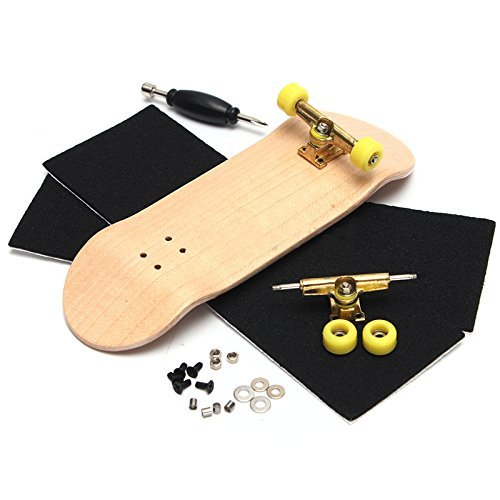 Forfar Creative Komplett Finger Skateboard Holzgriffbrett Finger Skate Brett Grit Box Schaum Tape Holzfarben