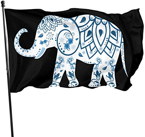 Jhin bandiere decorative zen meditation indian elephant nature symbol tattoo themed welcome party outdoor outside decorations ornament picks home garden decor 3 x 5 ft