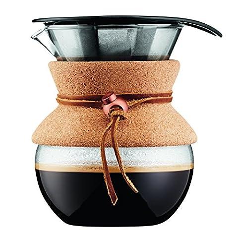 Bodum - 11592-109 - Pour Over - Cafetière avec Filtre Inox à Maille Fine, Finition Liège, 0.5 l