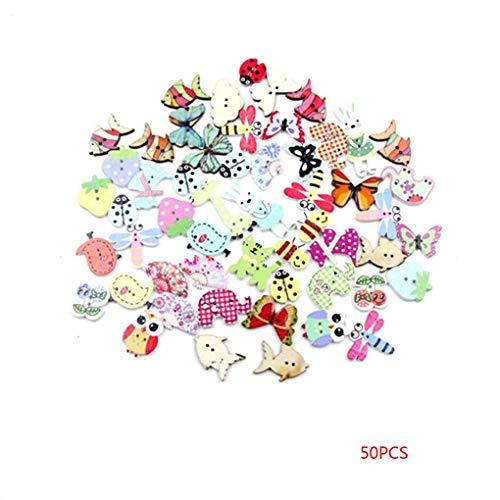 Jinzuke 50PCS / Set de álbum de Recortes de Botones de Madera...