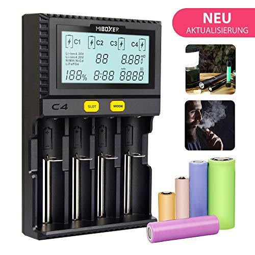 MiBoxer LCD-Display Universal-Ladegerät Universal-Quad-Akku 18650 RCR123 Ladegerät 4-Slot-LCD-Bildschirm mit EU-Ladegerät Kabel für Li-Ion/IMR/NI-CD/LiFePO4 wiederaufladbar(Enthält Keine Batterie)