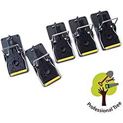 ProfessionalTree® 5er-Set Profi-Mausefallen Köder-Fallen Schlagfallen - Sichere und hygienische Beseitigung von Mäusen Schädlingsbekämpfung - Kunststoff schwarz Premium- Qualität