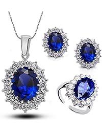 hrph Corazón azul plateado plata del Océano anillos cristalinos del collar del pendiente