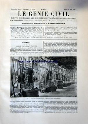 GENIE CIVIL (LE) [No 615] du 24/03/1894 - LES TOURS VERTICAUX AUX ETATS-UNIS PAR GLAENZER -LES MINES DE GOLDBERG AU MOYEN AGE PAR EFFERE -TRAVAUX PUBLICS -LES PROGRES DE LA SIDERURGIE EN 1893 PAR POURCEL -CHIMIE INDUSTRIELLE -APPAREIL DE DEMARRAGE PAR AUSCHER -LES MACHINES VOLANTES PAR SCHABAYER -INFORMATIONS PAR CACHEUX -LA MORT DE JOSEPH LABBE par Collectif