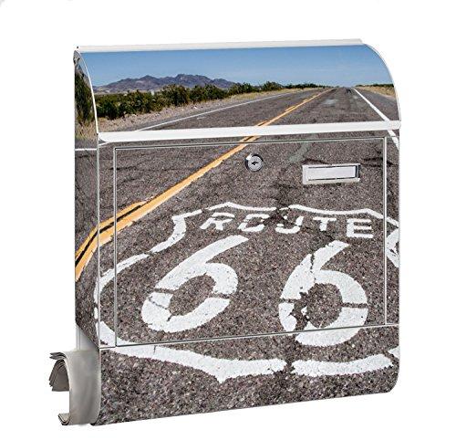 Design Motiv Briefkasten Maxi mit Zeitungsfach Zeitungsrolle für A4 Post slk shop Groß Route 66