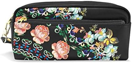Coosun Quadrant avec roses sur noir Portable Cuir PU Trousse d'école Pen Sacs papeterie Pouch Case Grande contenance Sac de maquillage B07FZZ81PL | De Qualité Supérieure