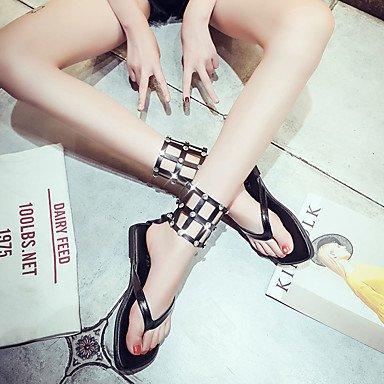LvYuan Da donna Sandali Comoda Gomma Estate Footing Comoda Piatto Bianco Nero Meno di 2,5 cm White