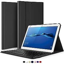 Huawei MediaPad M3 Lite 10 Teclado Estuche, IVSO Huawei MediaPad M3 Lite 10 [Teclado QWERTY] Bluetooth Keyboard Case Funda Ultra fino Slim SmartShell con Magnético Desmontable Teclado Bluetooth Inalámbrico Utilizando Altura ajustable para Huawei MediaPad M3 Lite 10 Tablet (Negro)