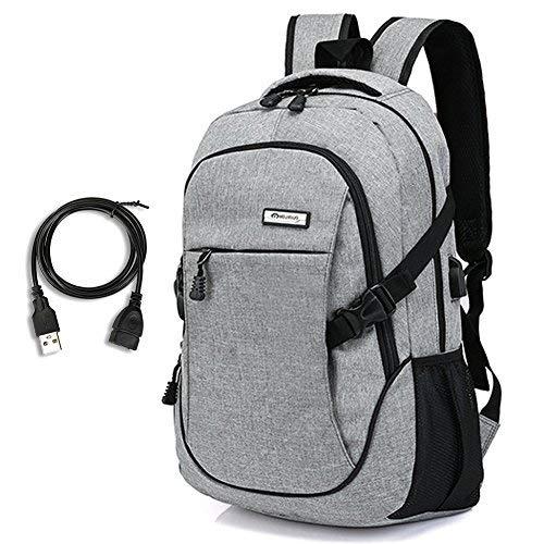 Laptop Rucksack mit USB - Rucksack Laptop 15,6 Zoll Notebook Business Tasche mit usb Kabel und Anschluss Grau Nylon Rucksack Damen Herren Computer Rucksäcke für Arbeit Schul Outdoor Reise