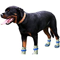 GFEU Pet Dog Socks Waterproof Non Slip, Durable Rubber Sole Shoes Dog Paw Protection Boots For Large Dog Puppy (L, Blue)