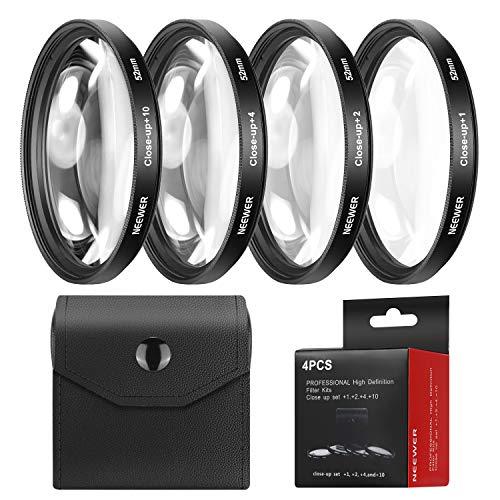 Neewer 52mm Vier Stücke Macro Close-up Filter Set (+ 1, + 2, + 4, + 10) mit Filter Tasche für Nikon D7100D7000D5200D5100D5000D3300D3200D3000D90D80und andere Kamera-Objektiv mit 52mm Filtergewinde -